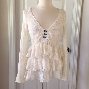 Free People Ivory Lace Blouse Long Bell Sleeves M